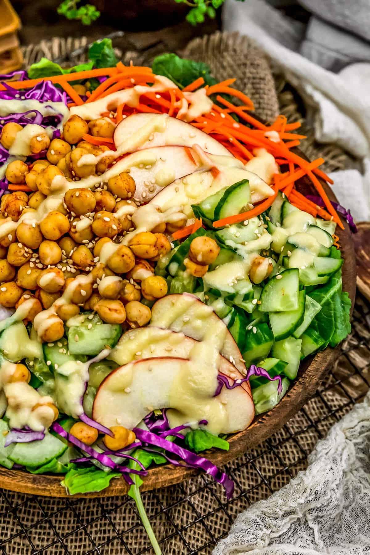 Close up of Apple Ginger Vinaigrette on a salad