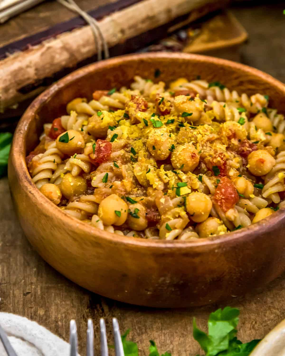 Bowl of BBQ Chickpea Pasta