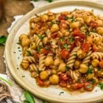 Close up of BBQ Chickpea Pasta