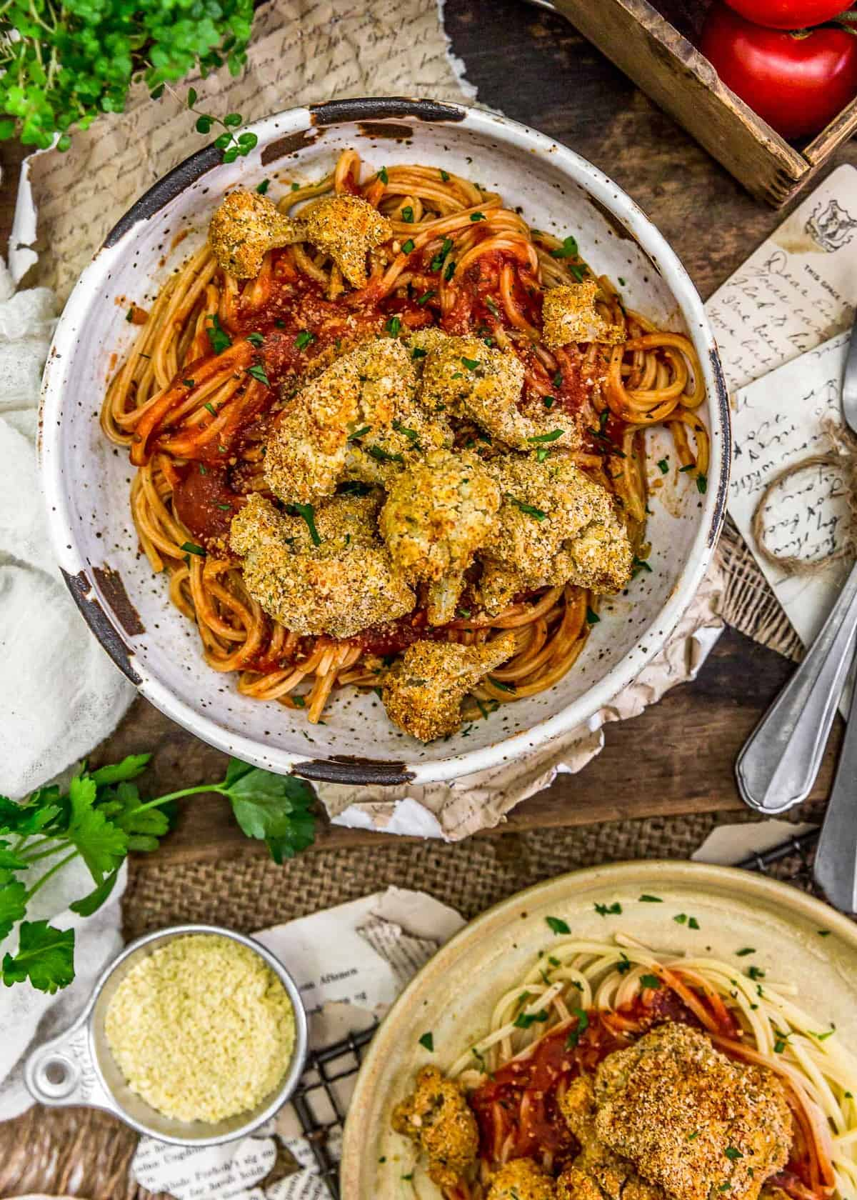 Served Baked Italian Cauliflower with spaghetti