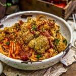 Baked Italian Cauliflower over spaghetti