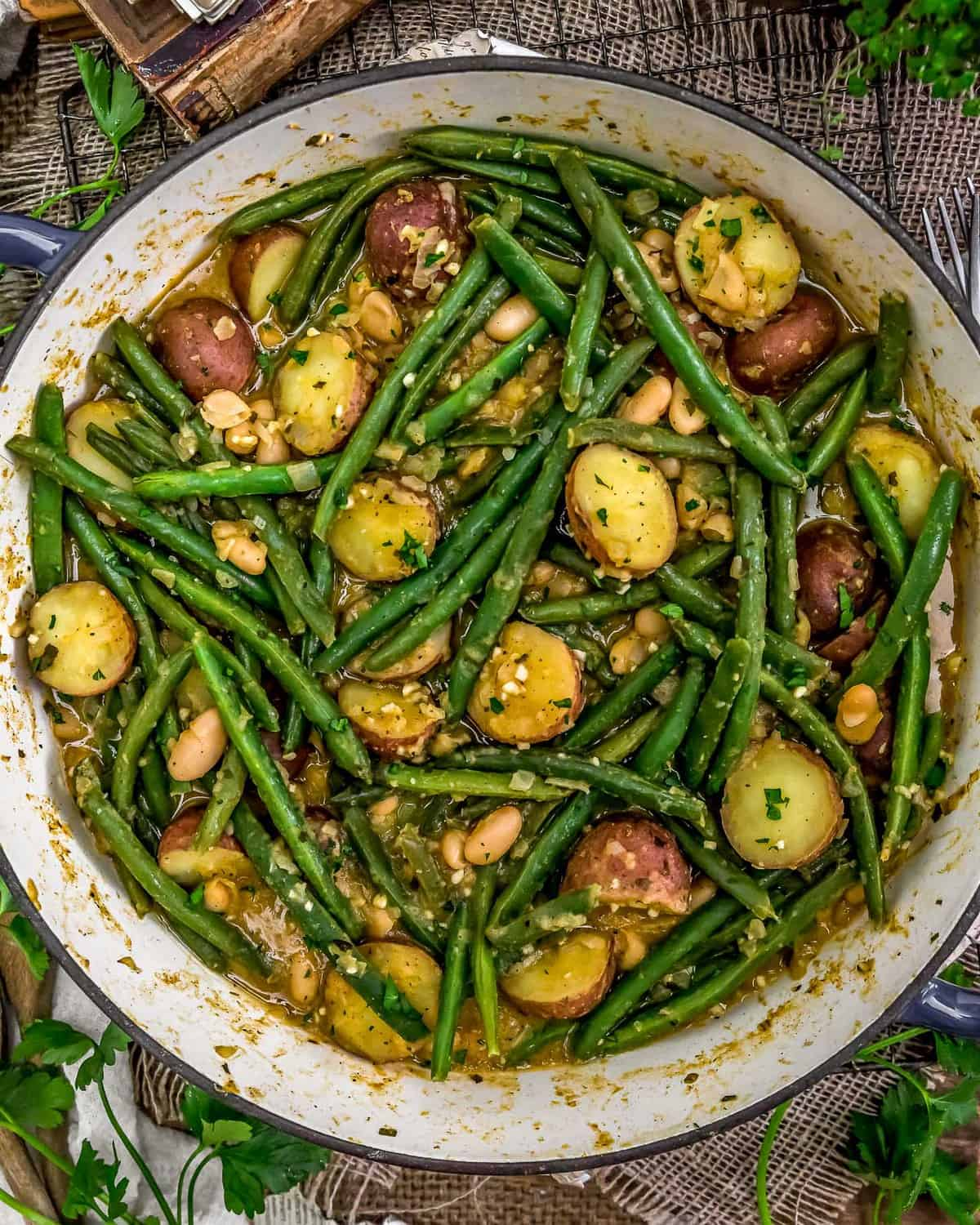 Skillet of Country Ranch Green Beans and Potato