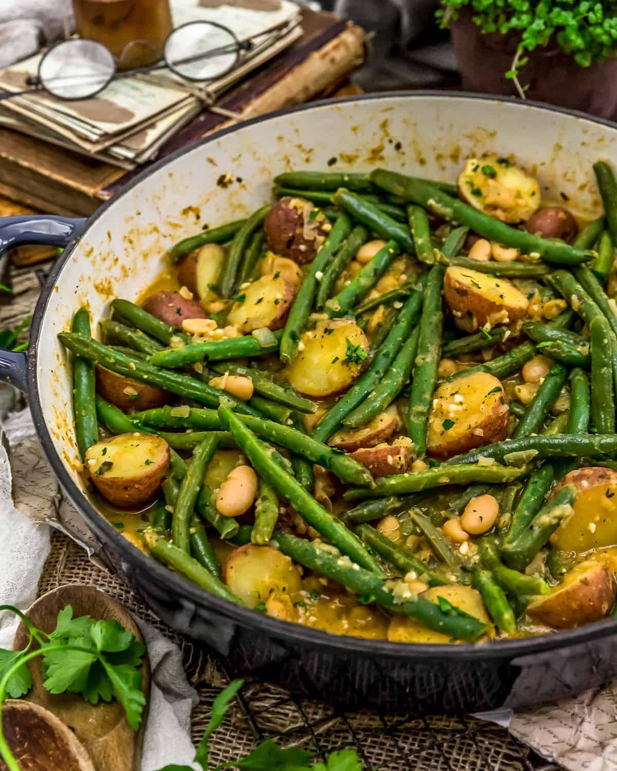Country Ranch Green Beans and Potato in a skillet