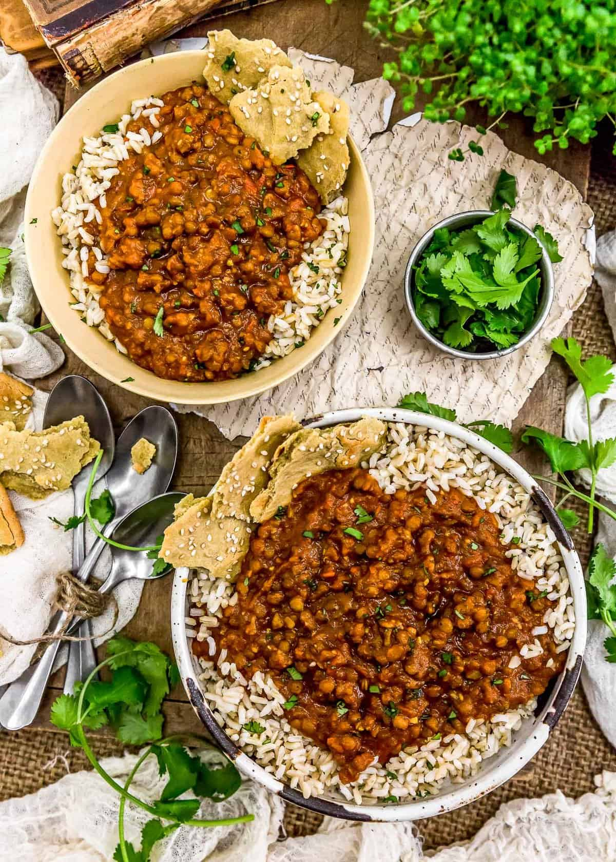 Tablescape of Creamy Lentil Curry