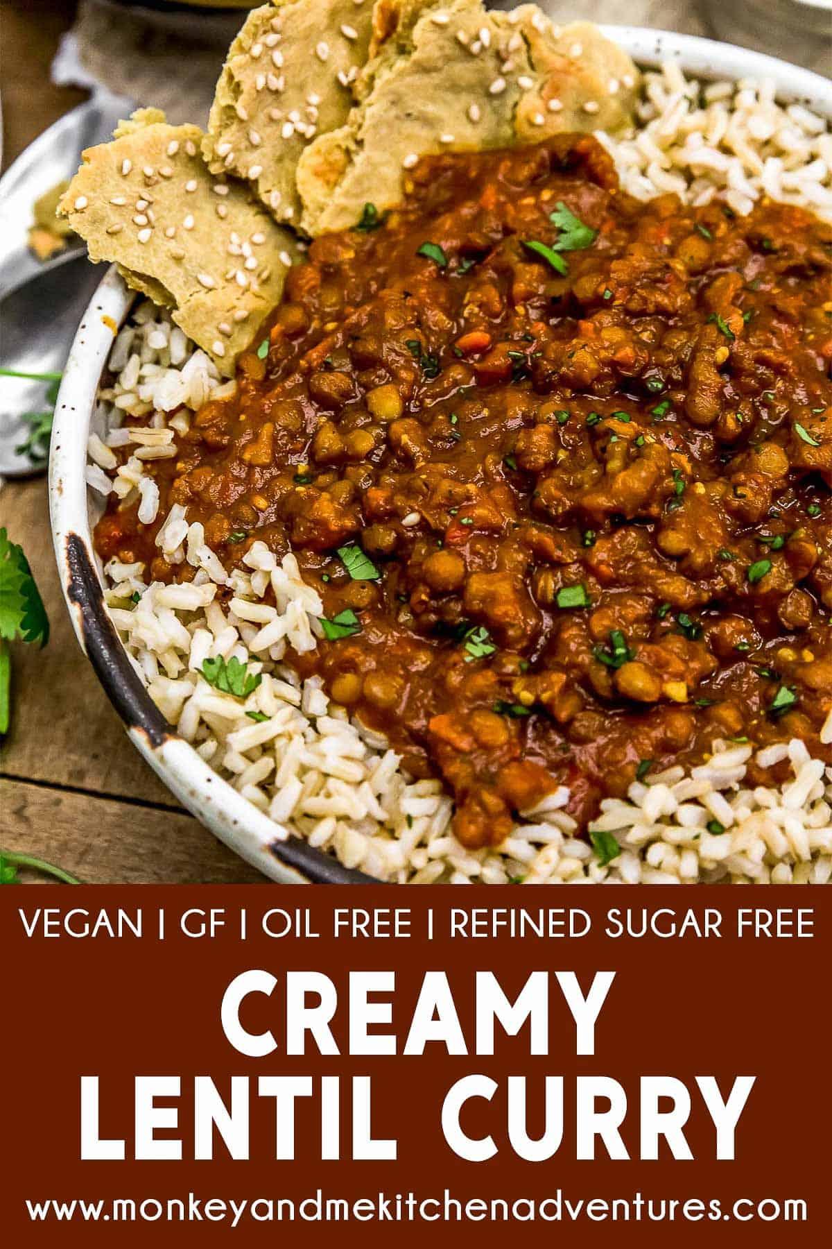Creamy Lentil Curry with text description