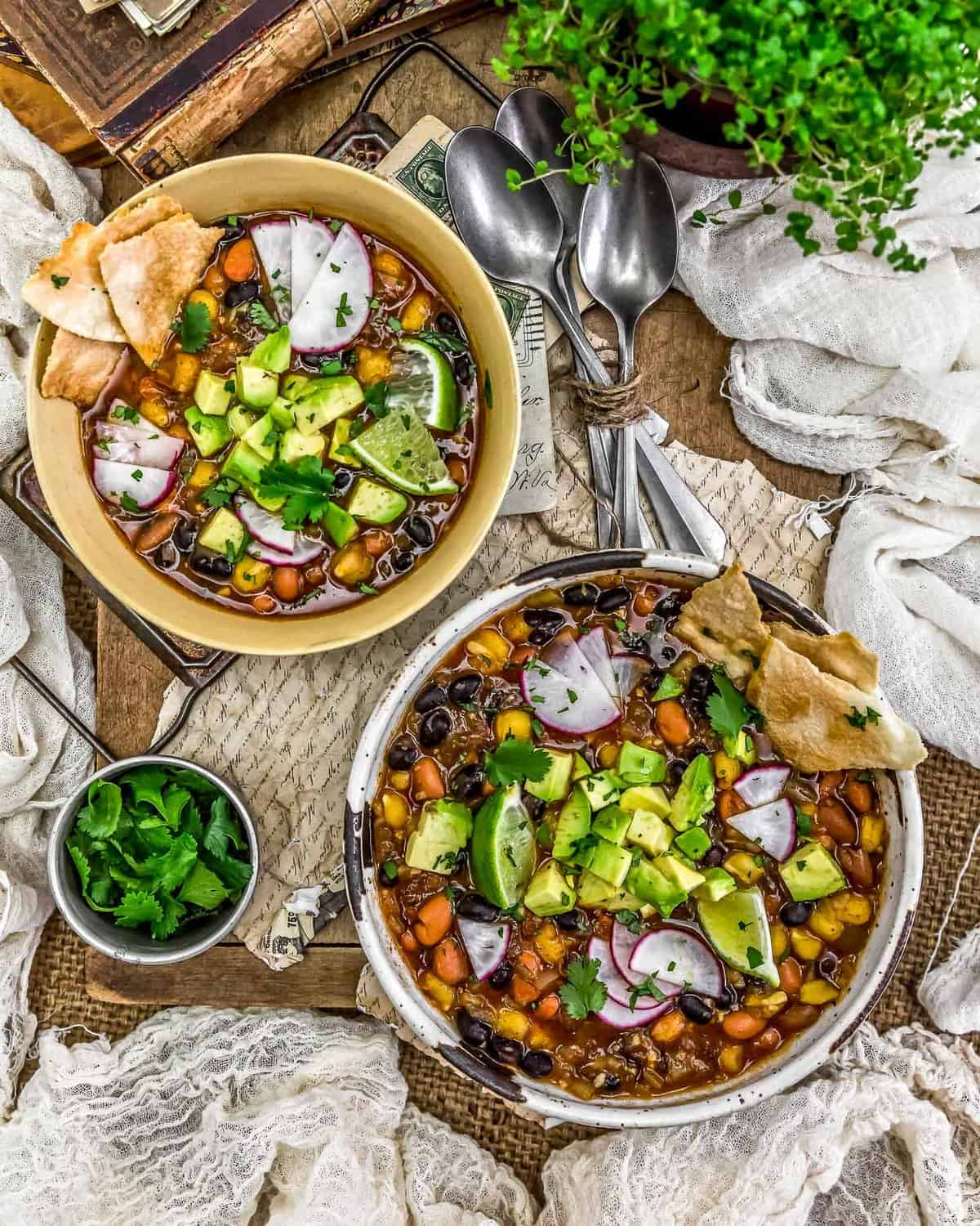 Tablescape of Easy Vegan Mexican Posole