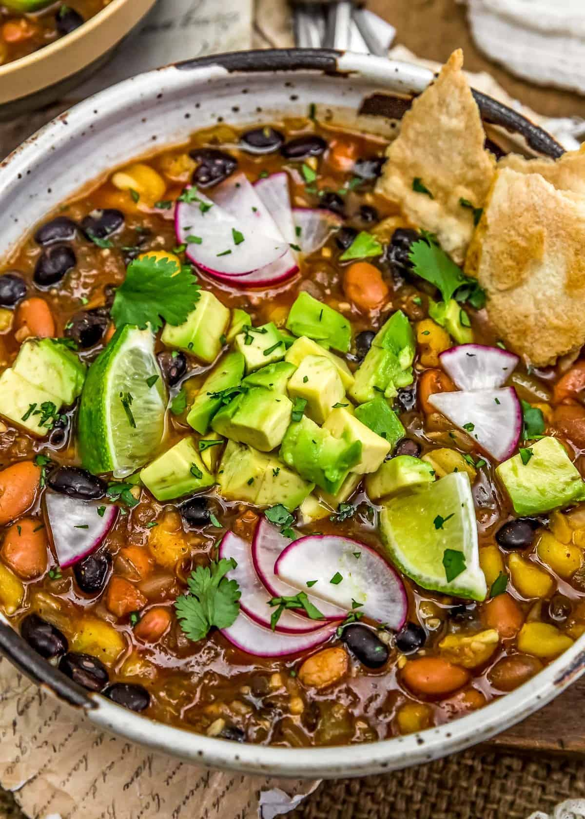 Close up of Easy Vegan Mexican Posole