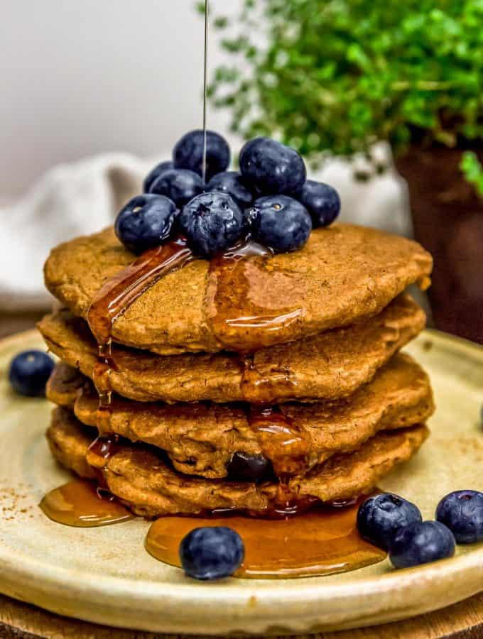 Stack of Hearty Blueberry Oat Pancakes