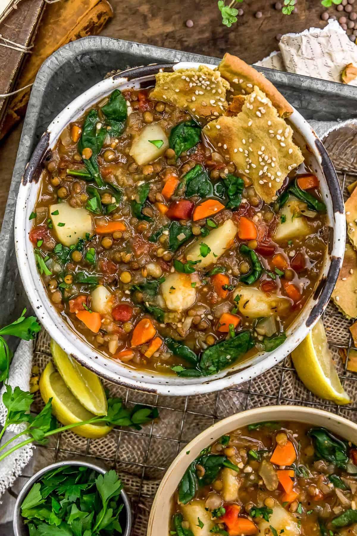 Bowls of Lemony Thyme Lentil Soup