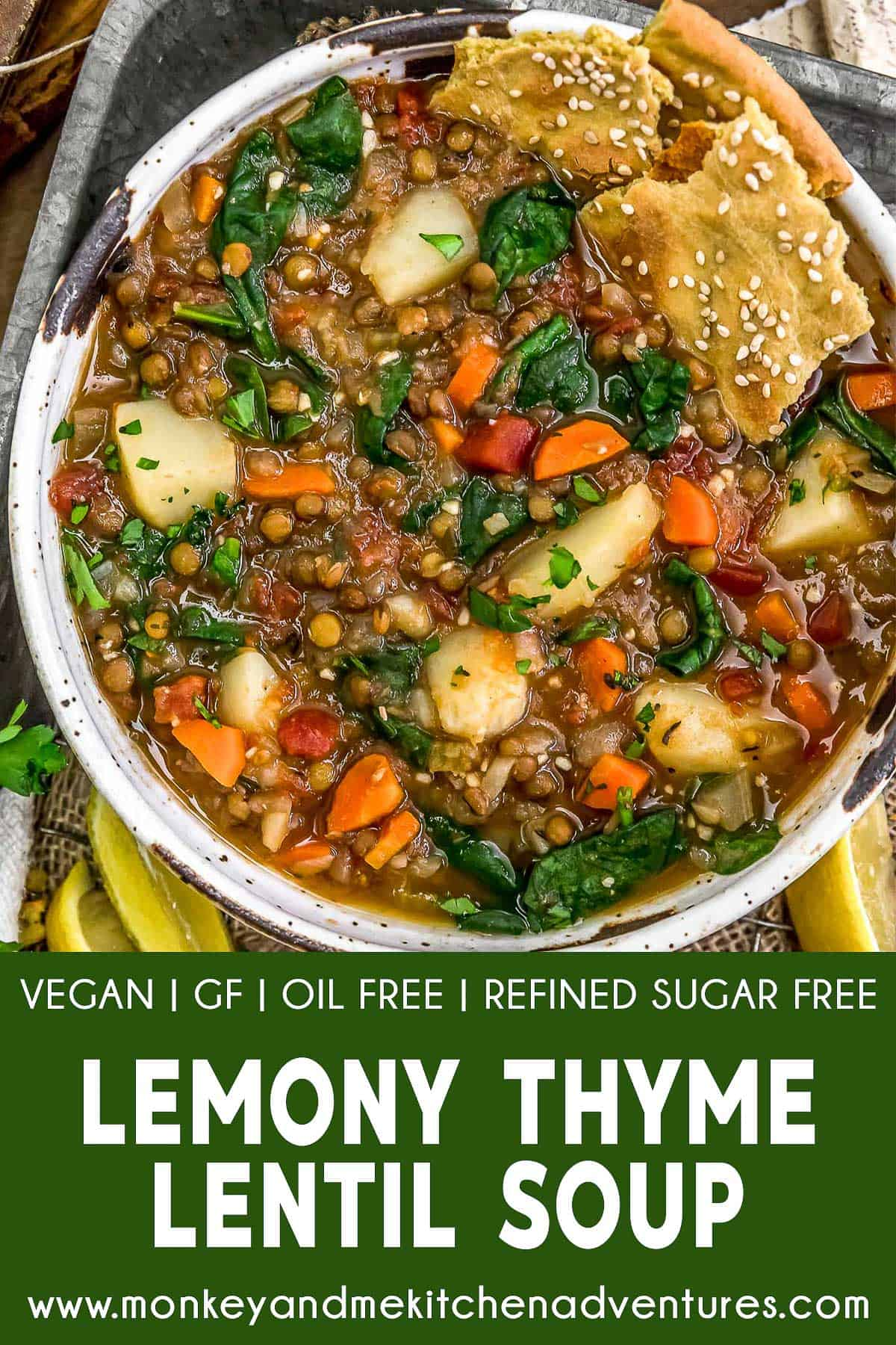 Lemony Thyme Lentil Soup with text description