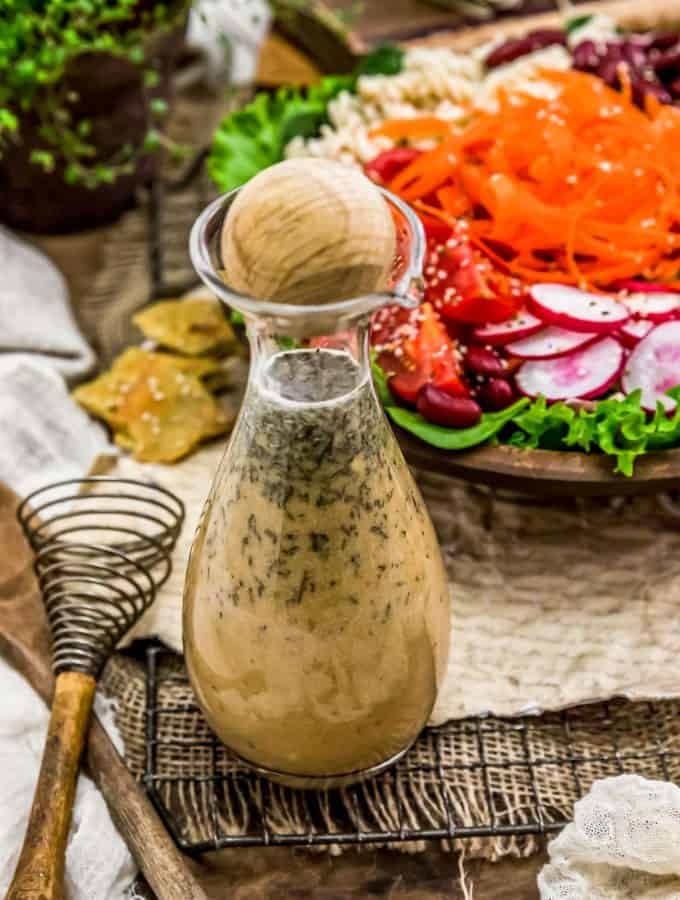 Oil Free Herb Vinaigrette in a bottle