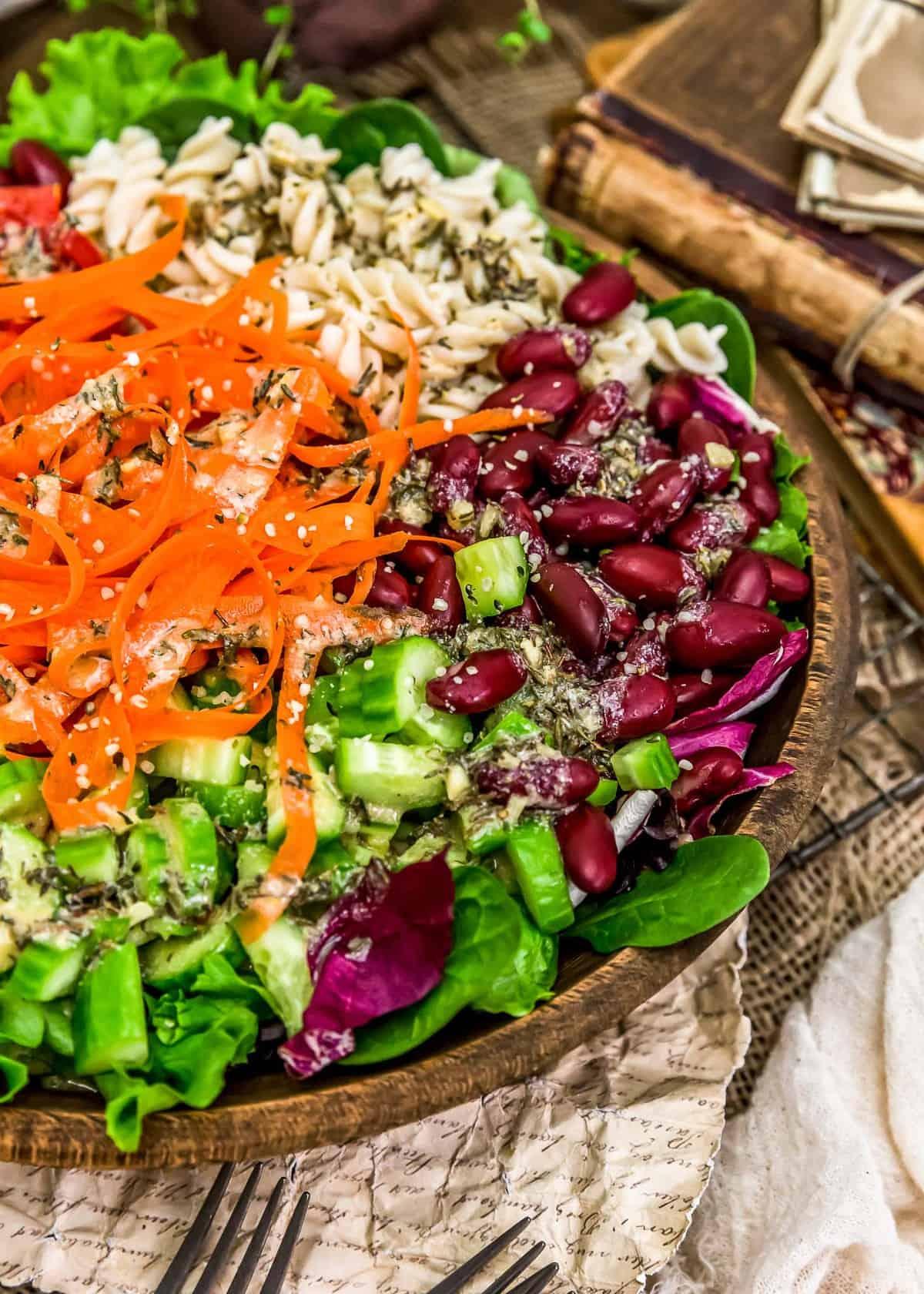Oil Free Herb Vinaigrette on a salad