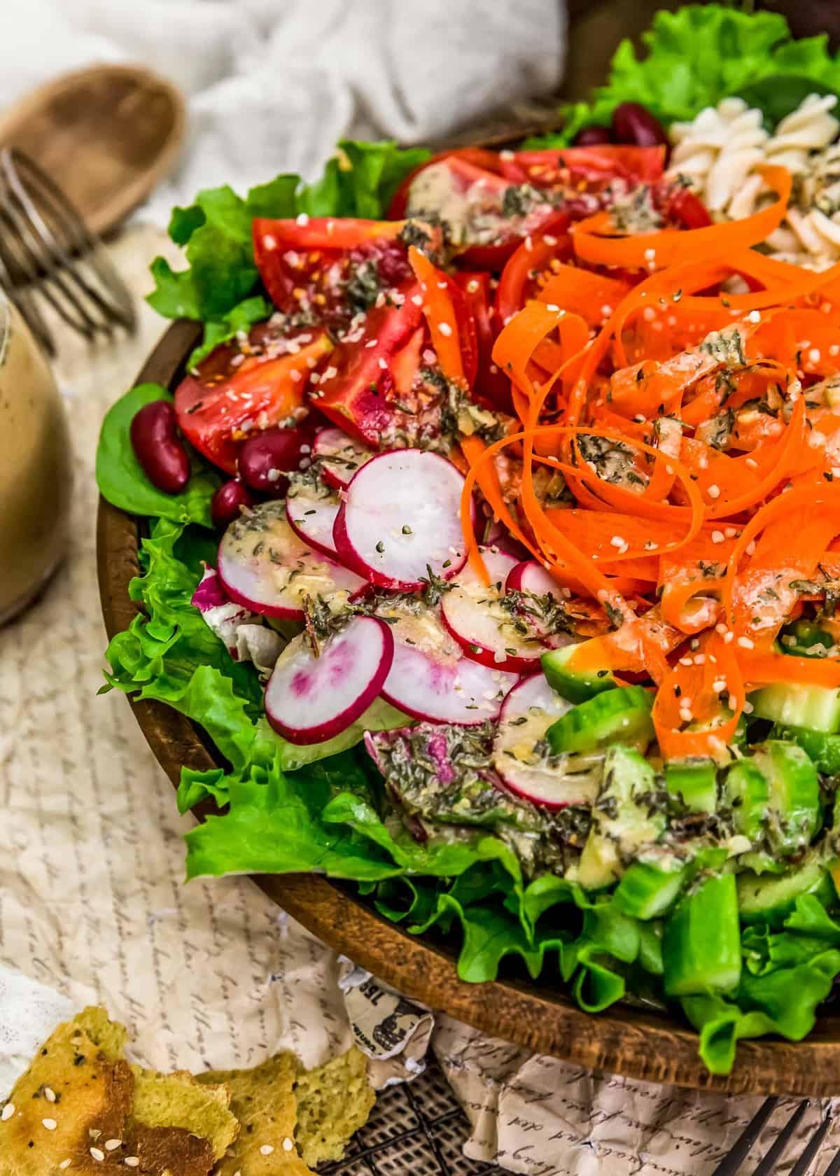 Close up fo Oil Free Herb Vinaigrette on a salad