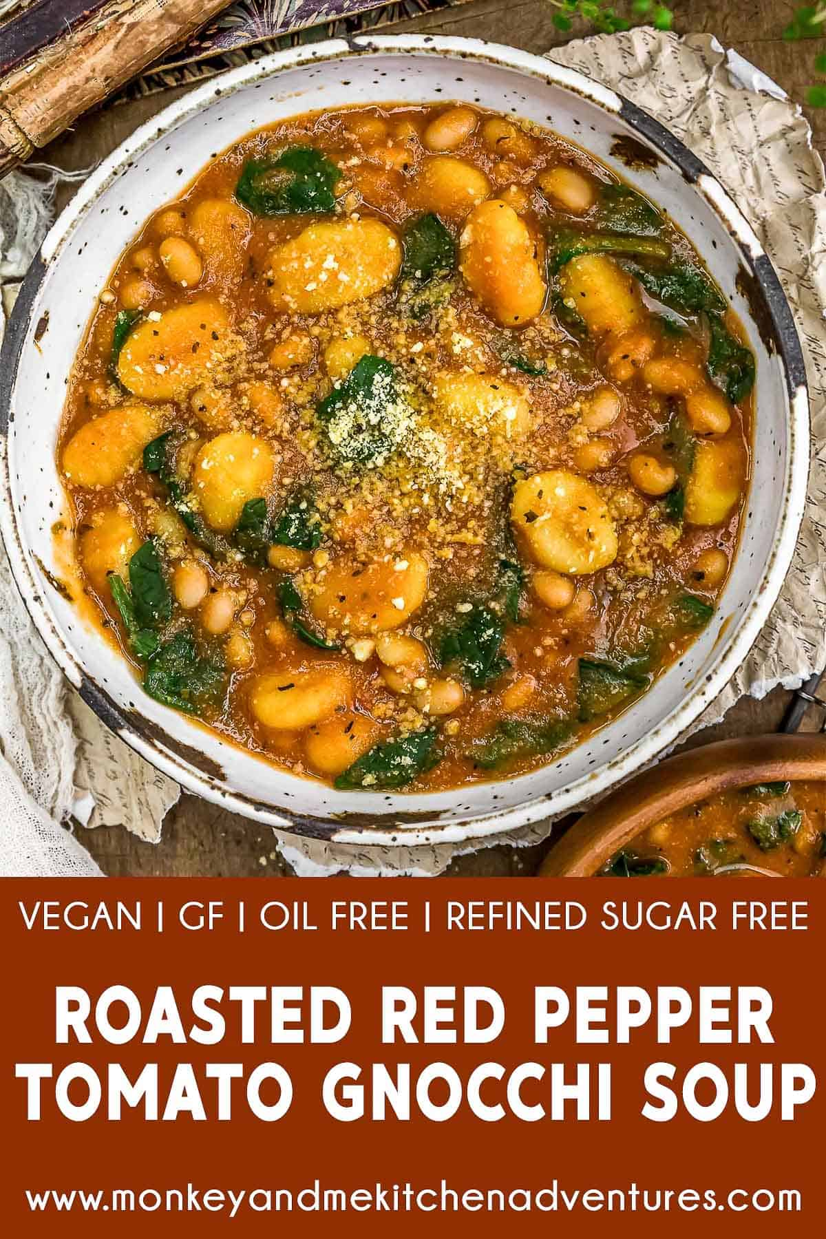Roasted Red Pepper Tomato Gnocchi Soup with text description