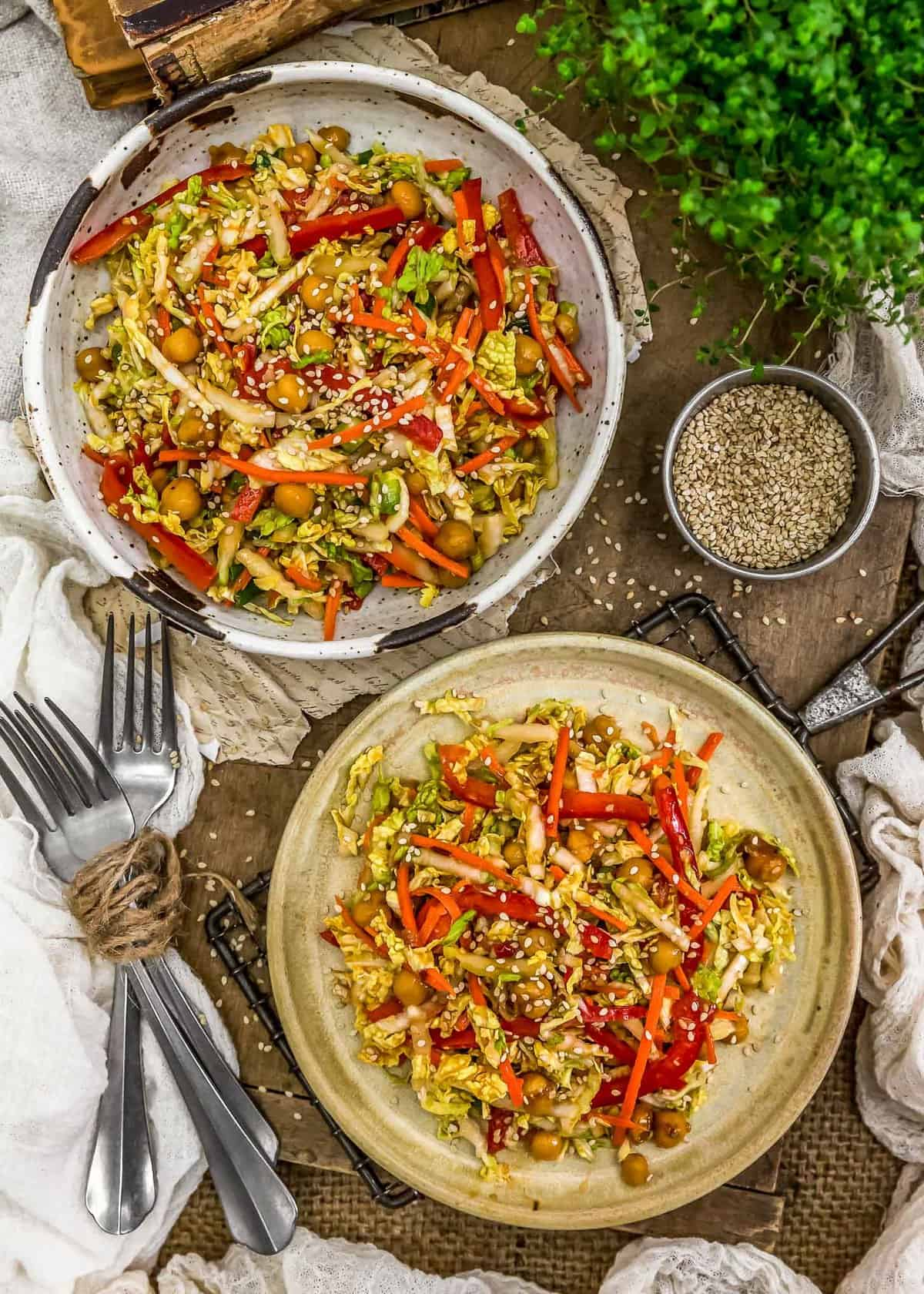 Tablescape of Spicy Glazed Chickpea Napa Cabbage Salad