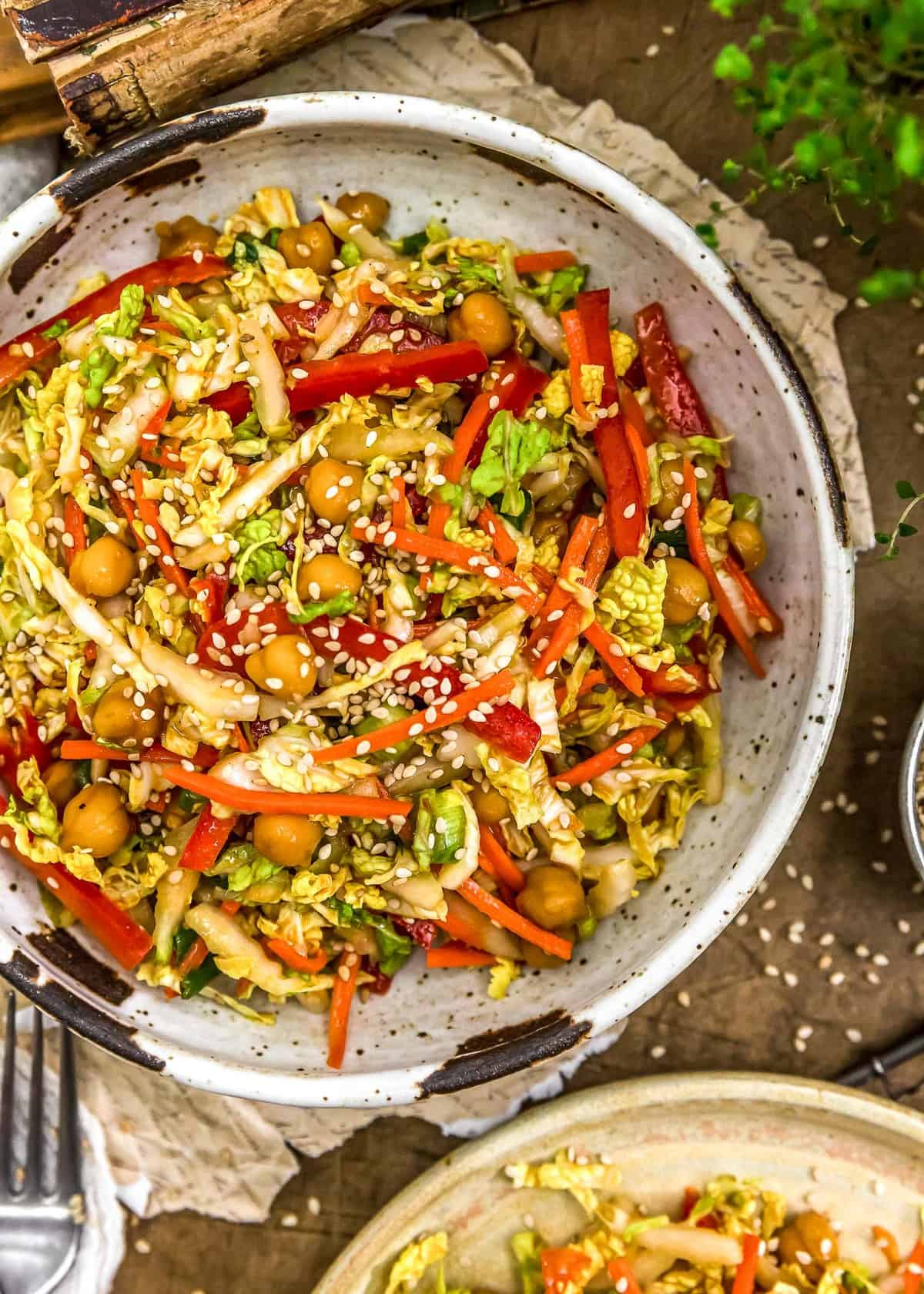 Spicy Glazed Chickpea Napa Cabbage Salad in a bowl