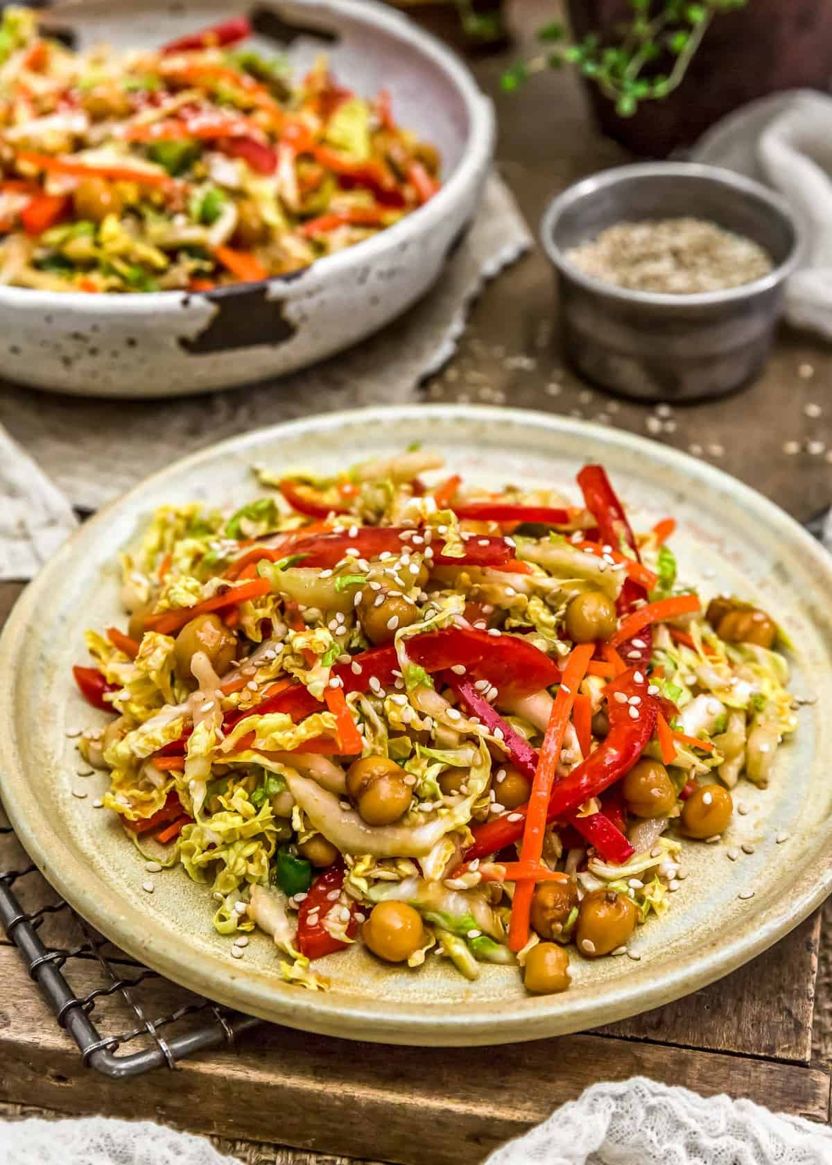 Served Spicy Glazed Chickpea Napa Cabbage Salad