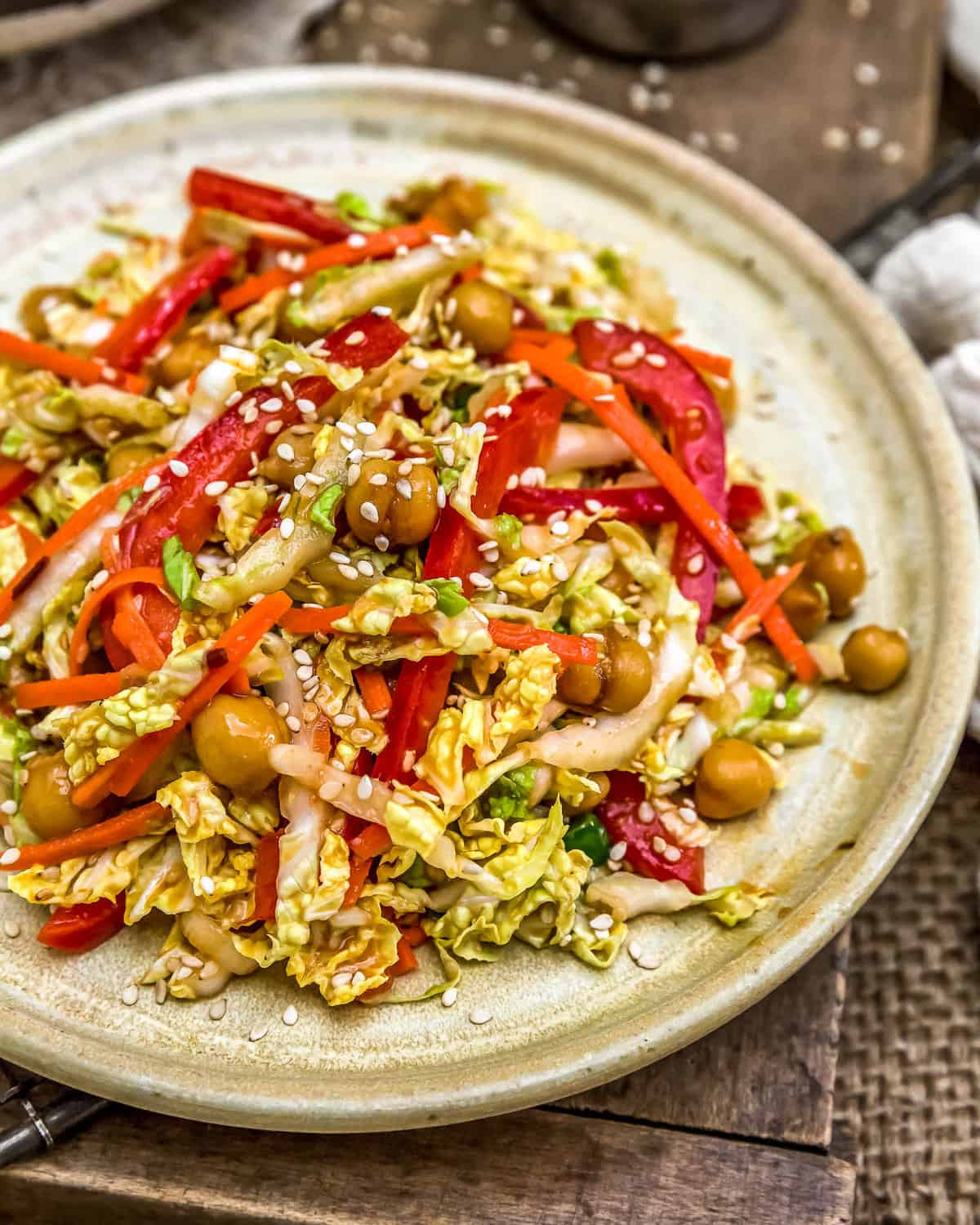 Plated Spicy Glazed Chickpea Napa Cabbage Salad