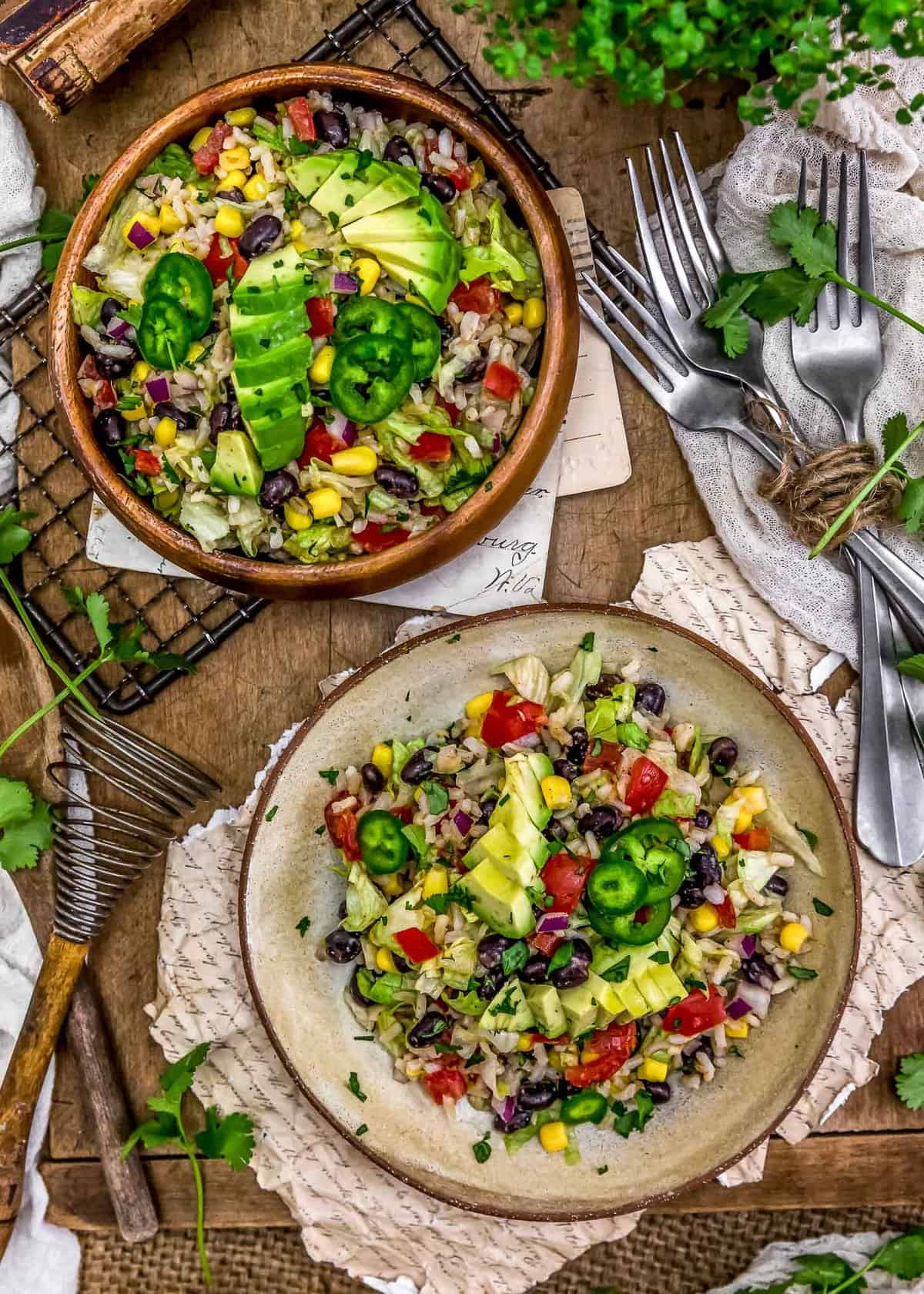 Tablescape of Tex-Mex Rice Salad