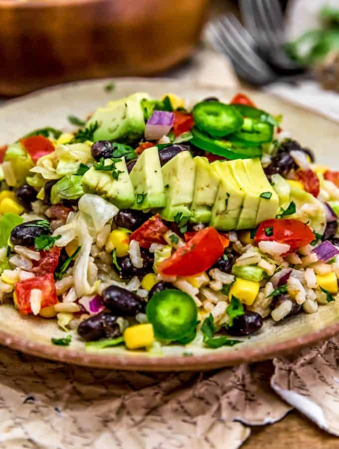 Close up of Tex-Mex Rice Salad