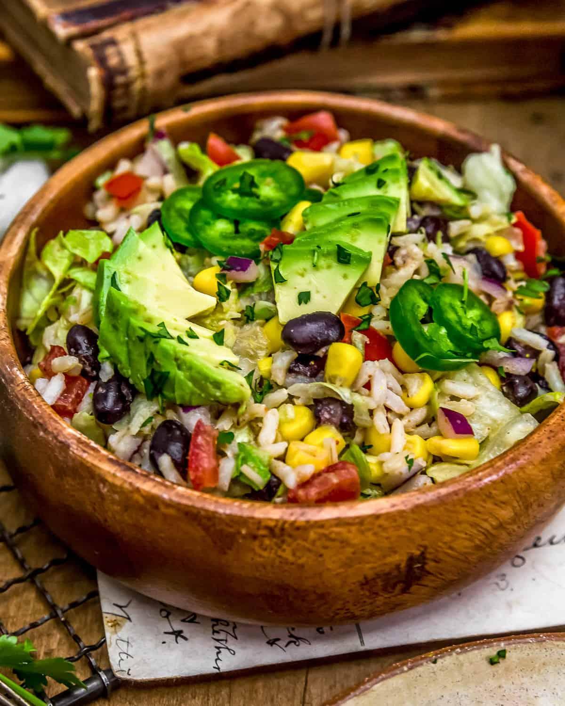 Tex-Mex Rice Salad in a bowl