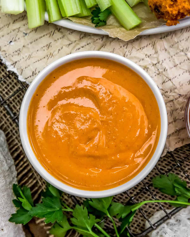 Close up of Vegan Buffalo Sauce