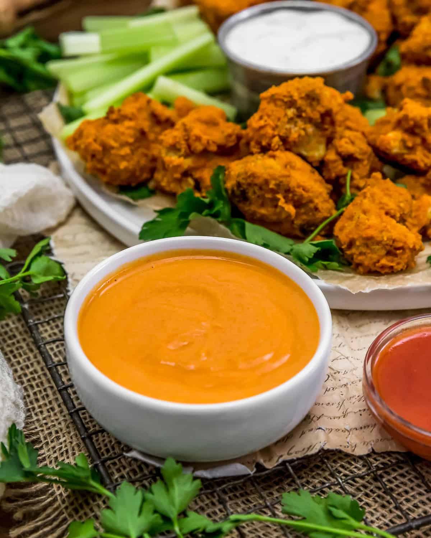 Vegan Buffalo Sauce with cauliflower wings