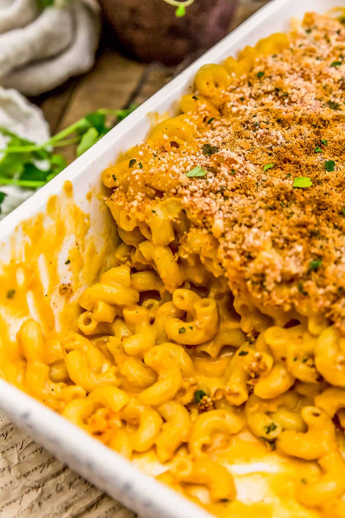 Casserole dish with Vegan Cauliflower Mac and Cheese