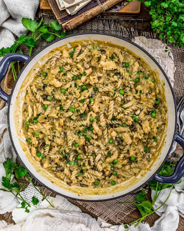 "Tablescape of Vegan ""Chicken"" Cordon Bleu Pasta Skillet"