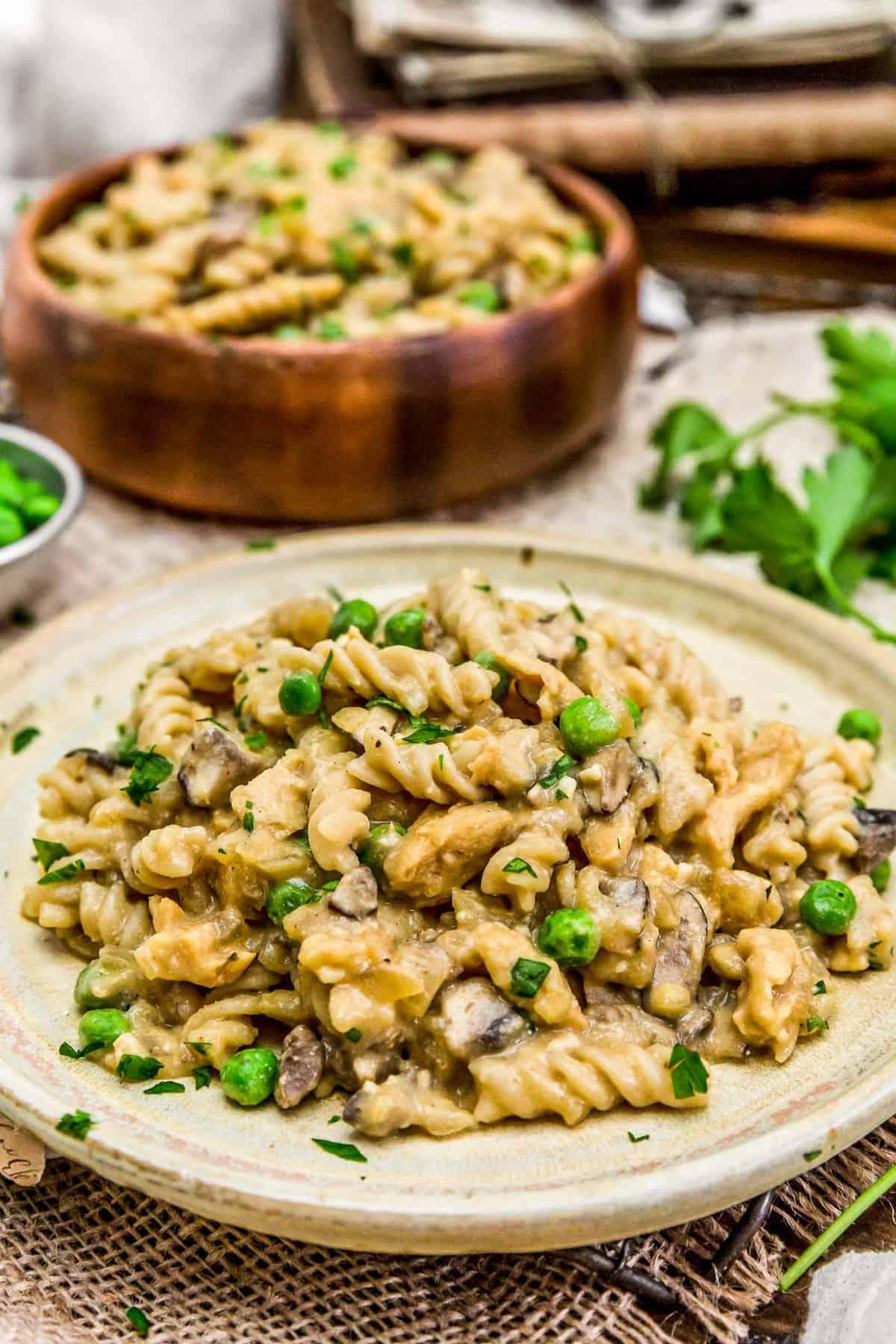 "Plated Vegan ""Chicken"" Cordon Bleu Pasta Skillet"