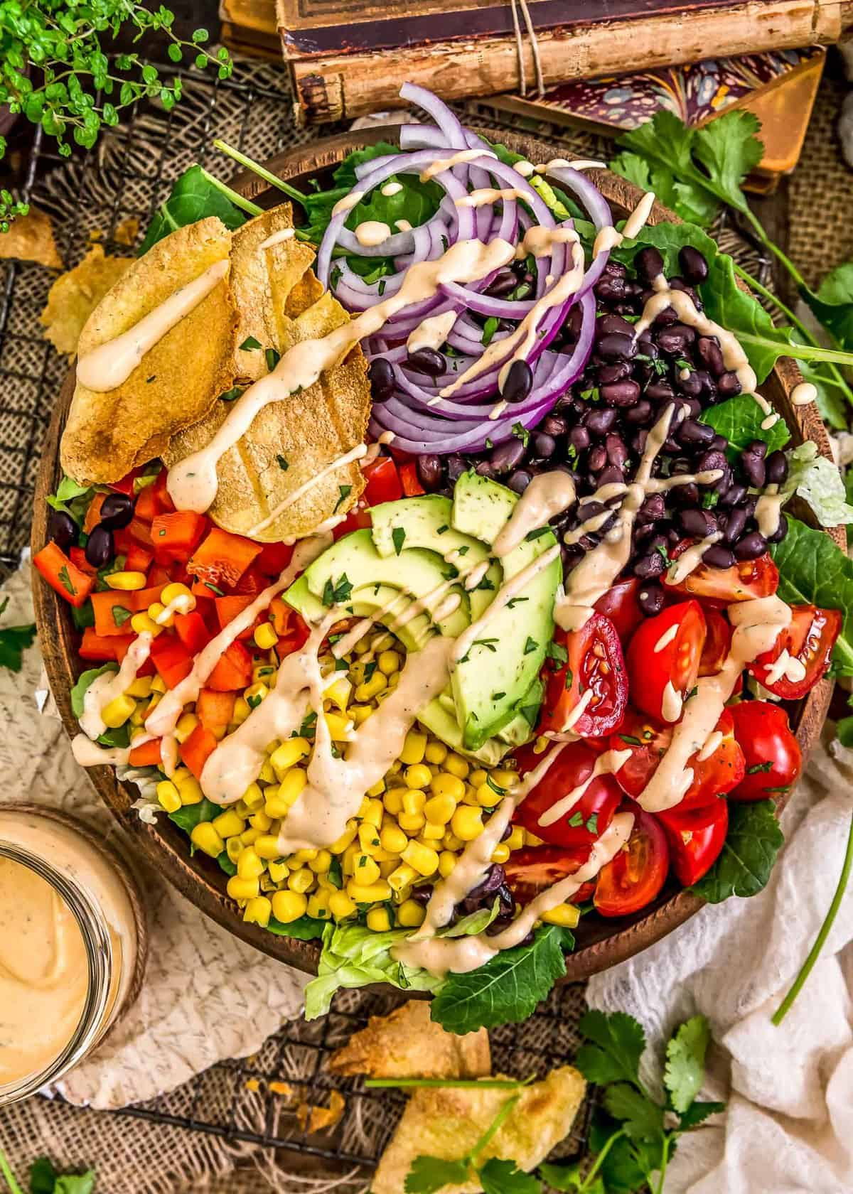 Salad with Vegan Chipotle Ranch Dressing
