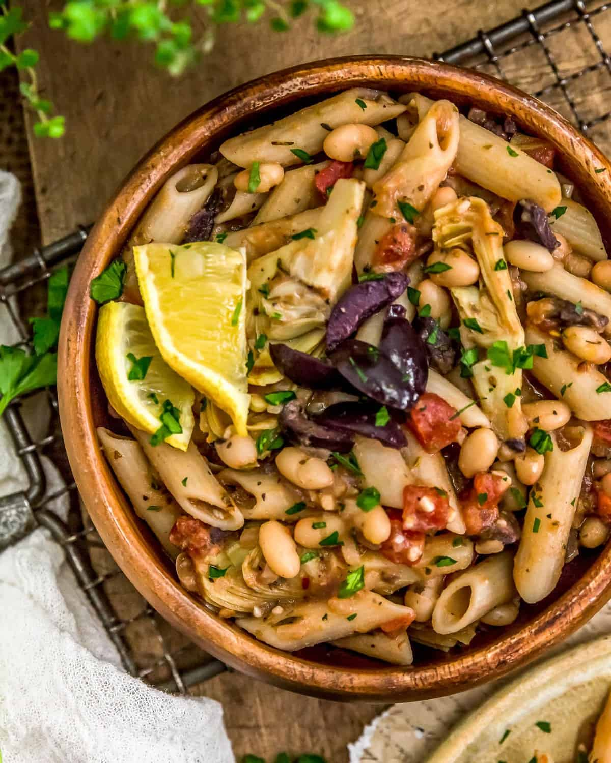 Vegan Greek Pasta in a bowl