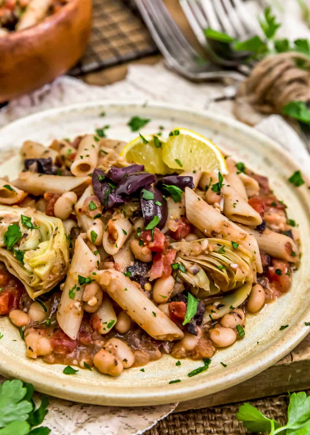 Plate of Vegan Greek Pasta