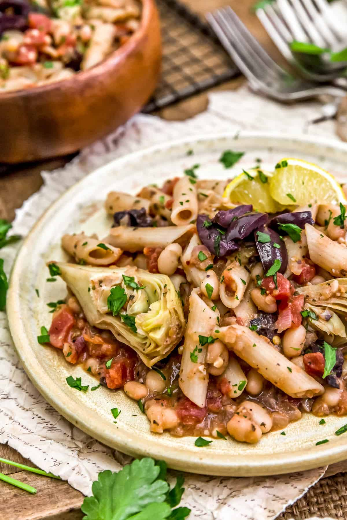 Close up of Vegan Greek Pasta