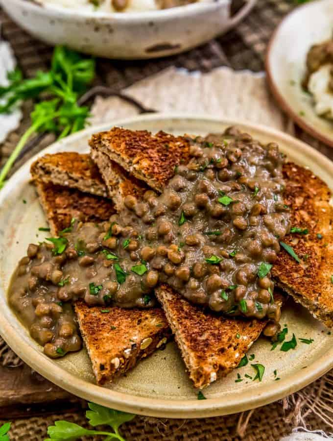 "Vegan ""Hamburger"" Gravy (SOS) over toast"