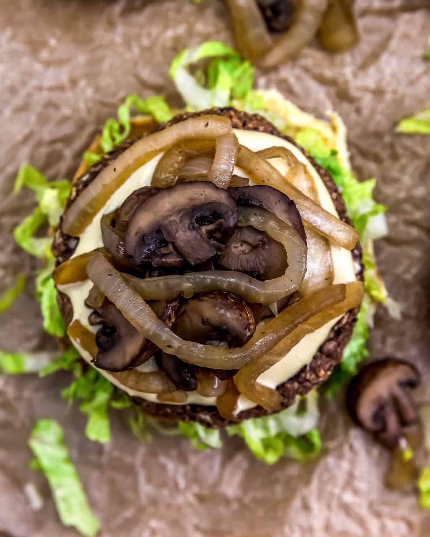 Top view of Vegan Patty Melt Burger