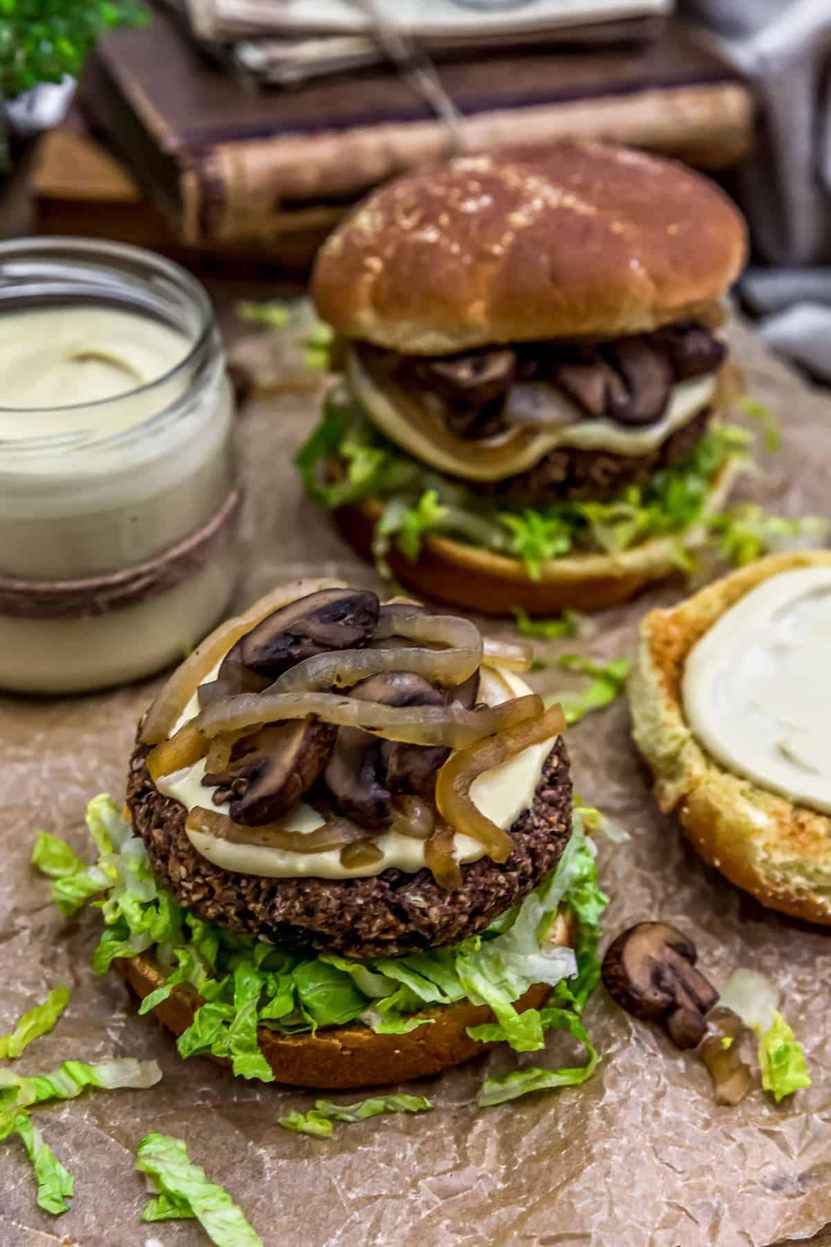 Tablescape of Vegan Patty Melt Burger