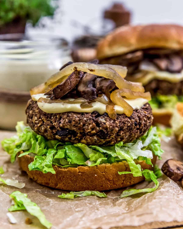 Close up of Vegan Patty Melt Burger