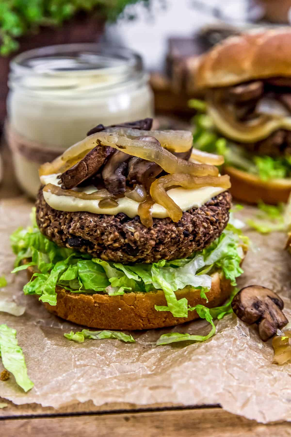 Vegan Patty Melt Burger topped with mushrooms and onions