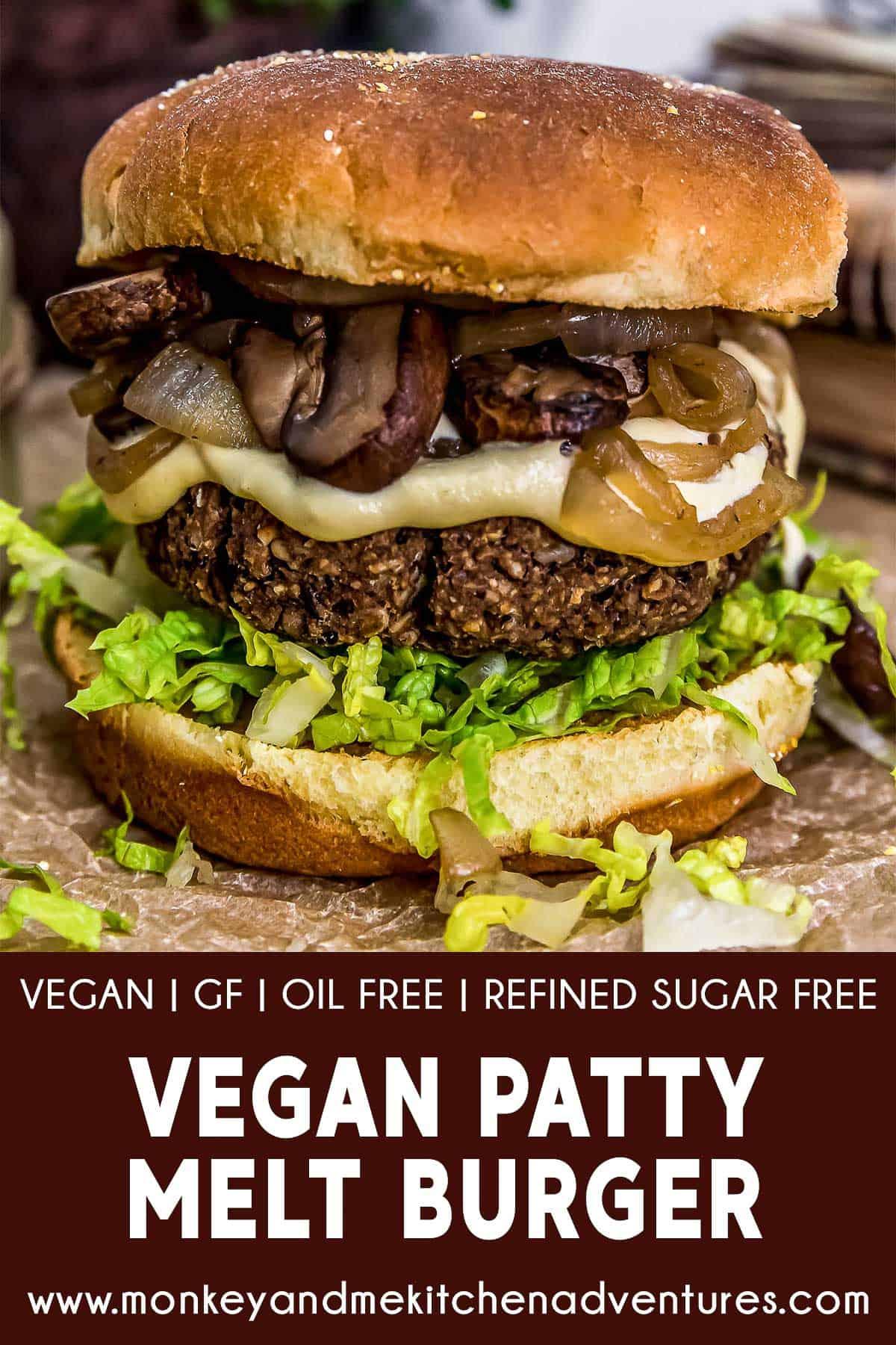 Vegan Patty Melt Burger with text description