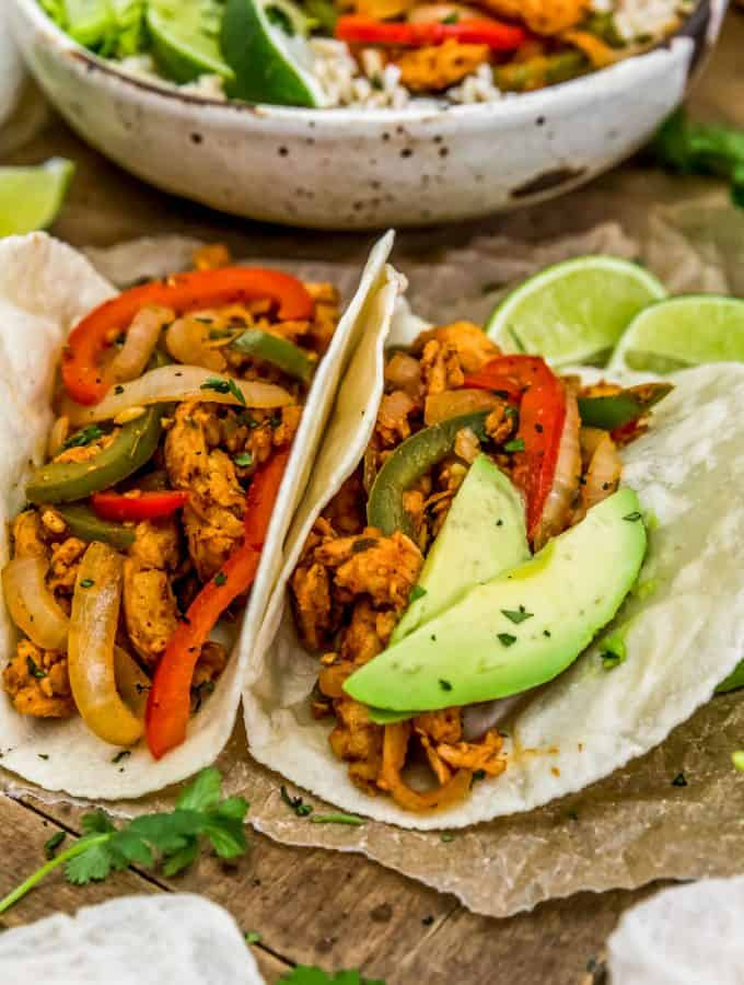 Vegan Soy Curl Fajitas in tortillas