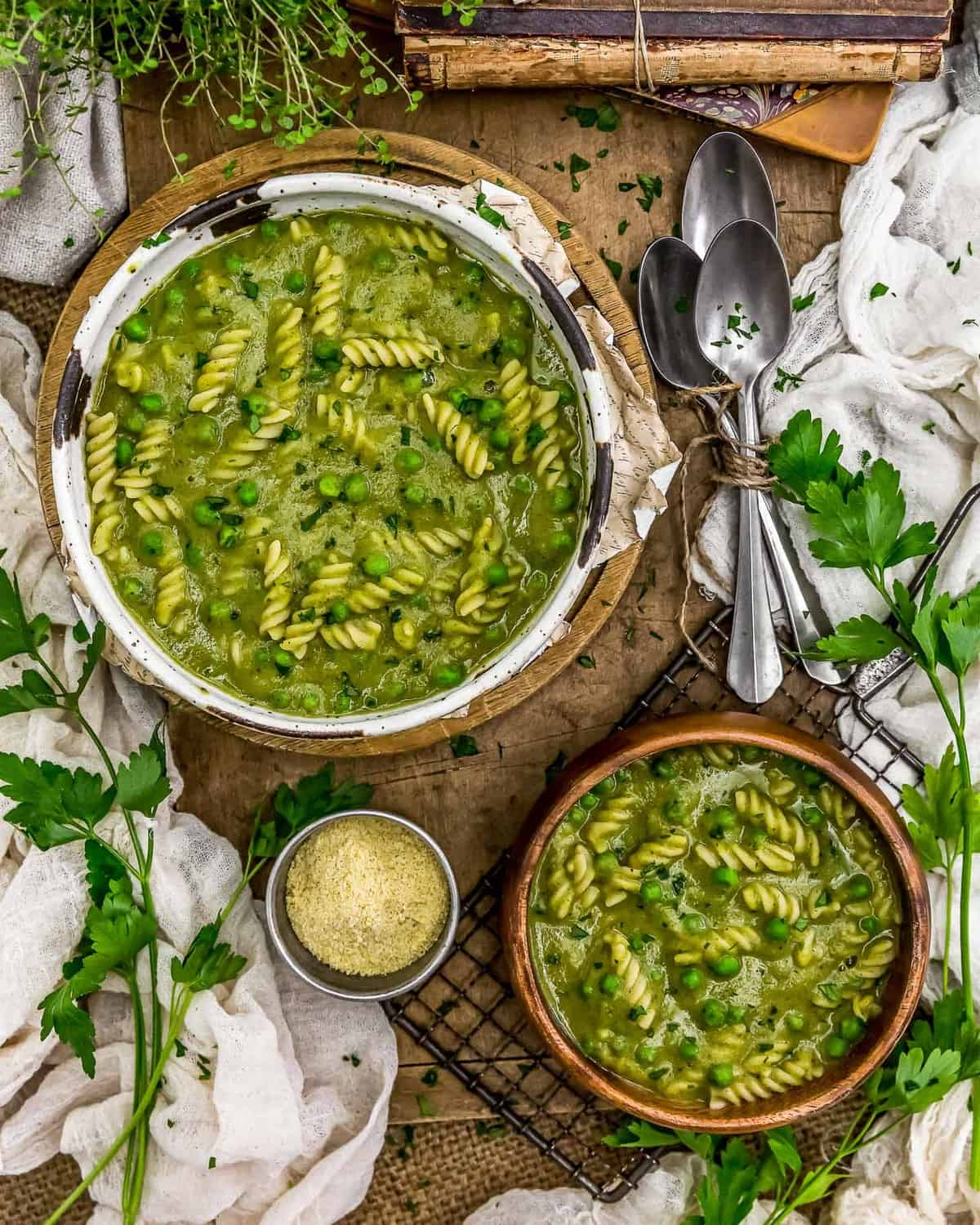 Tablescape of Spring Pea Soup
