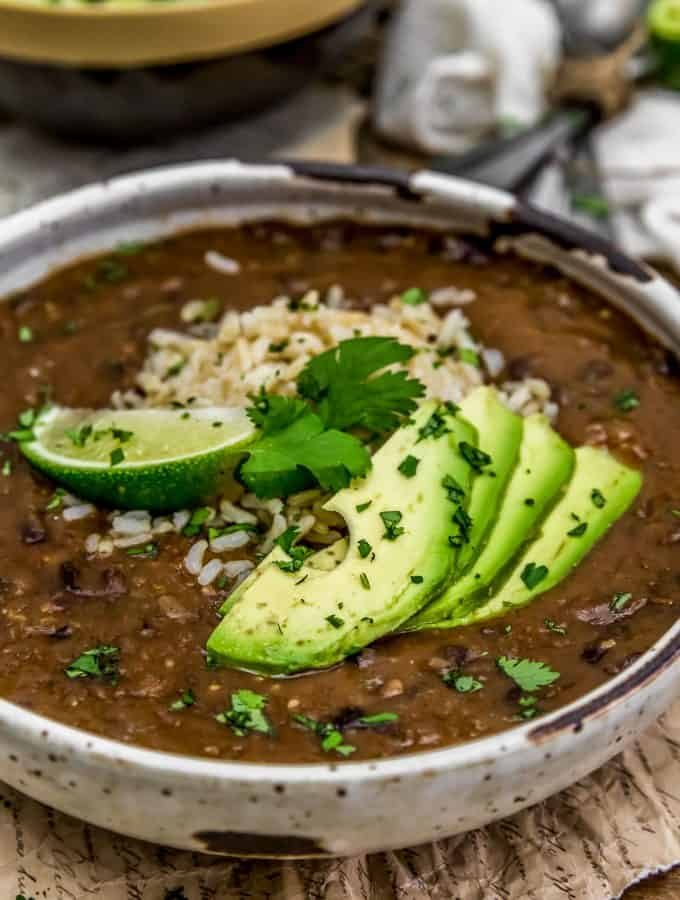 Easy Black Bean Soup with rice and avocado