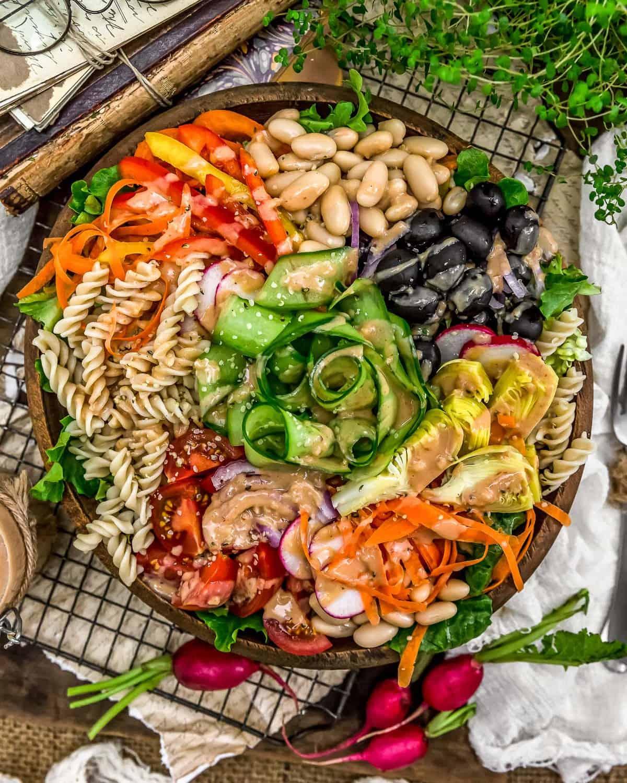 Oil Free Creamy Garlic Dressing on a salad