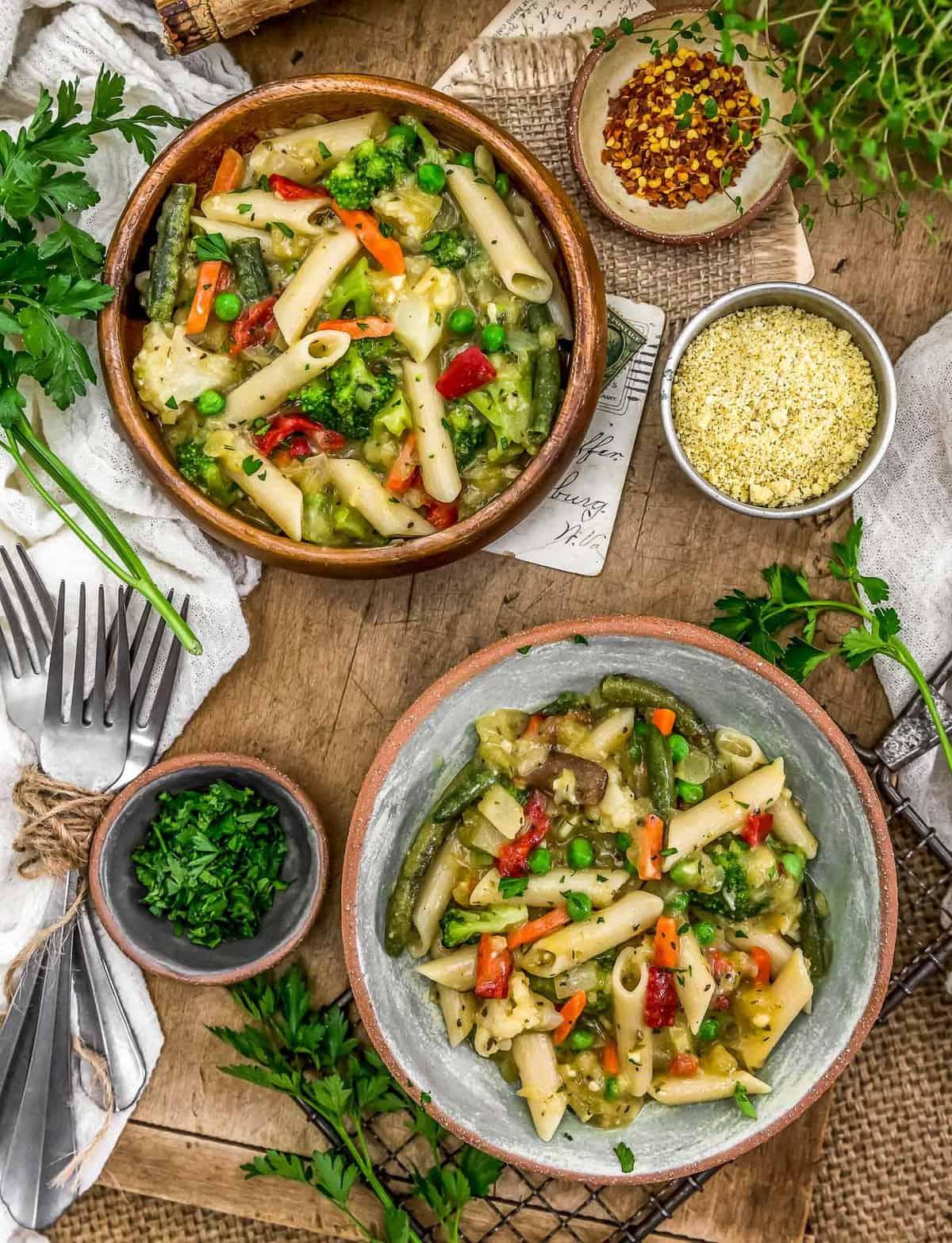 Tablescape of Pasta Primavera