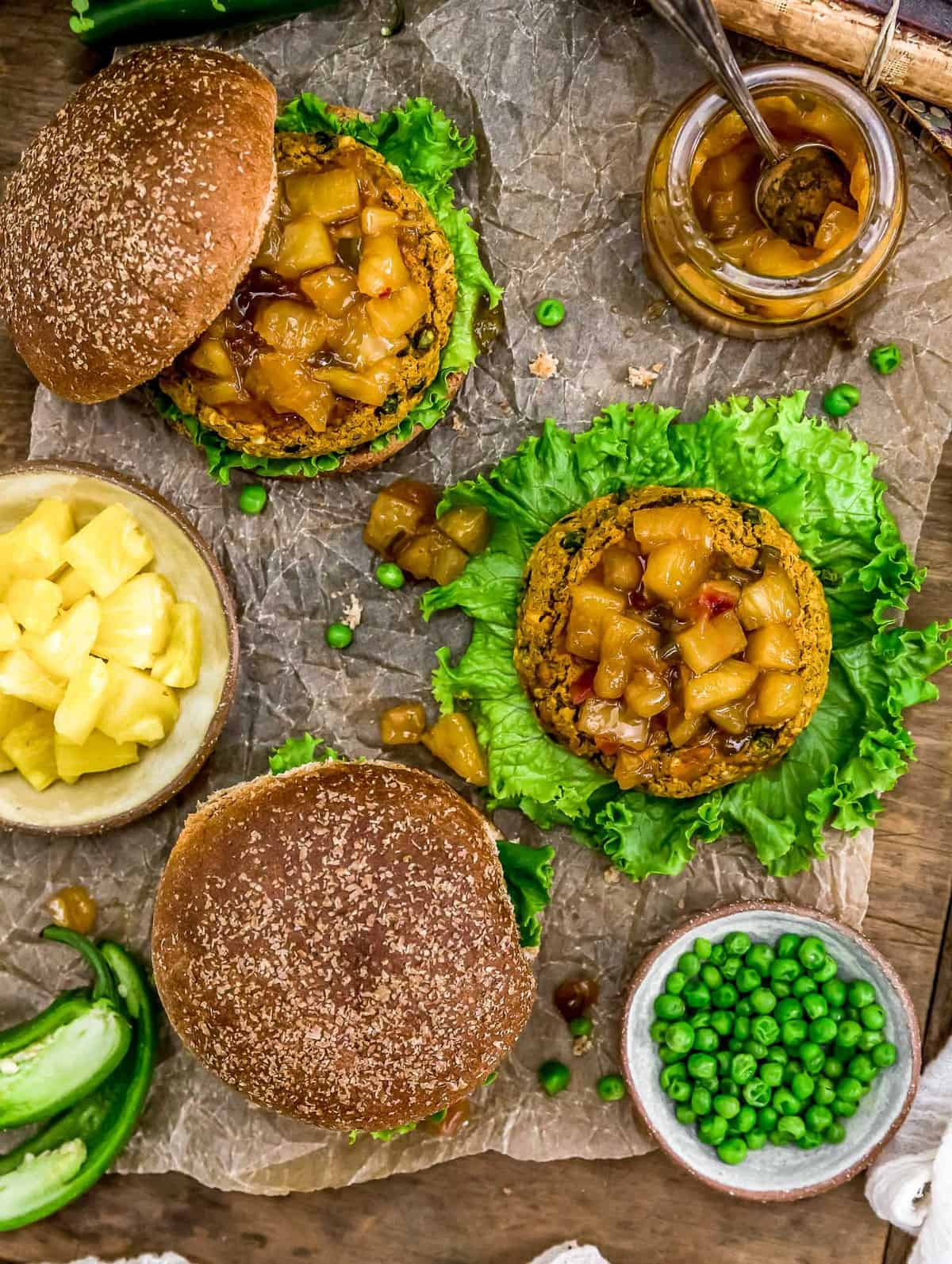 Tablescape of Vegan Curry Burgers