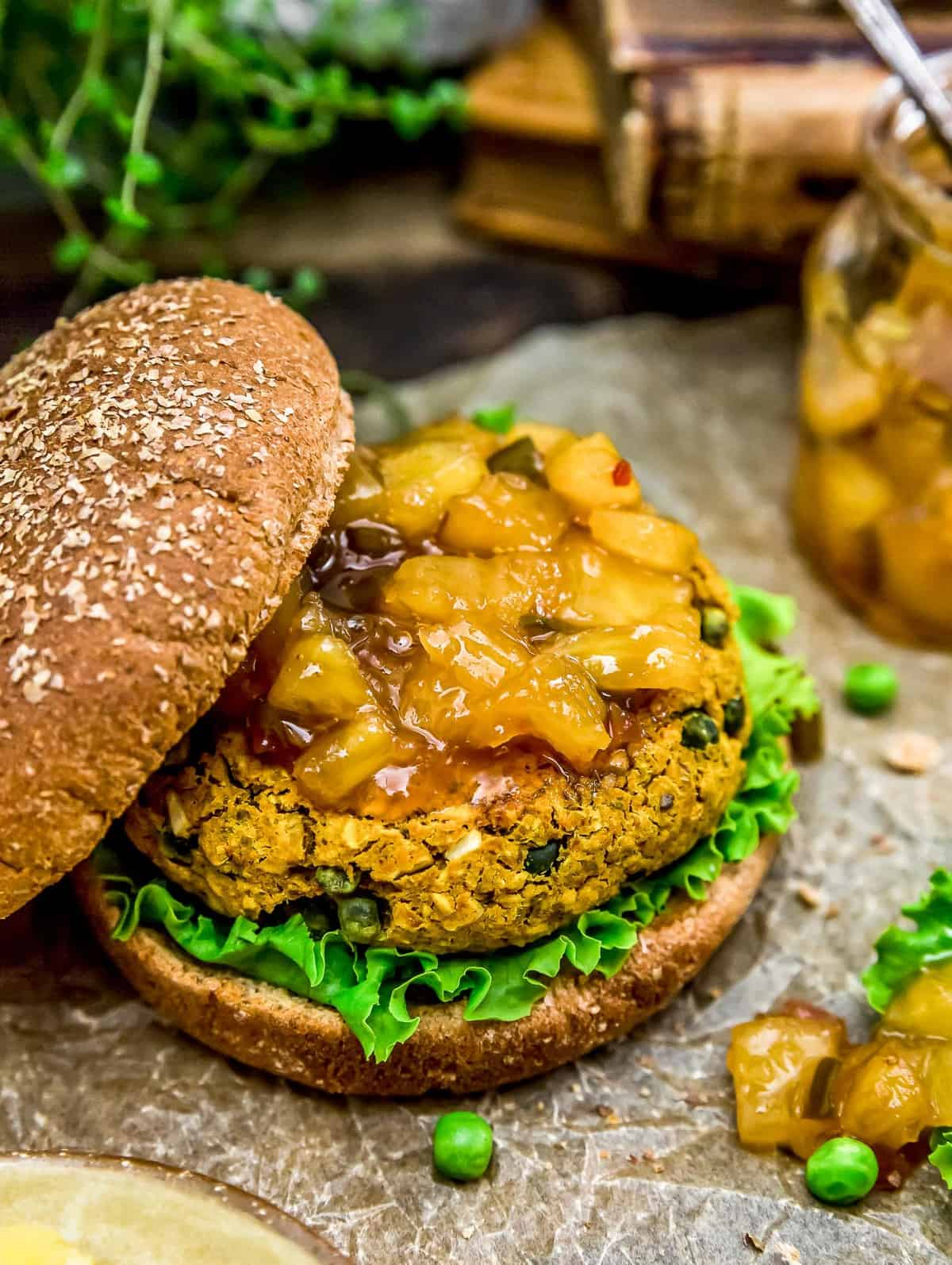 Vegan Curry Burger with Easy Pineapple Chutney