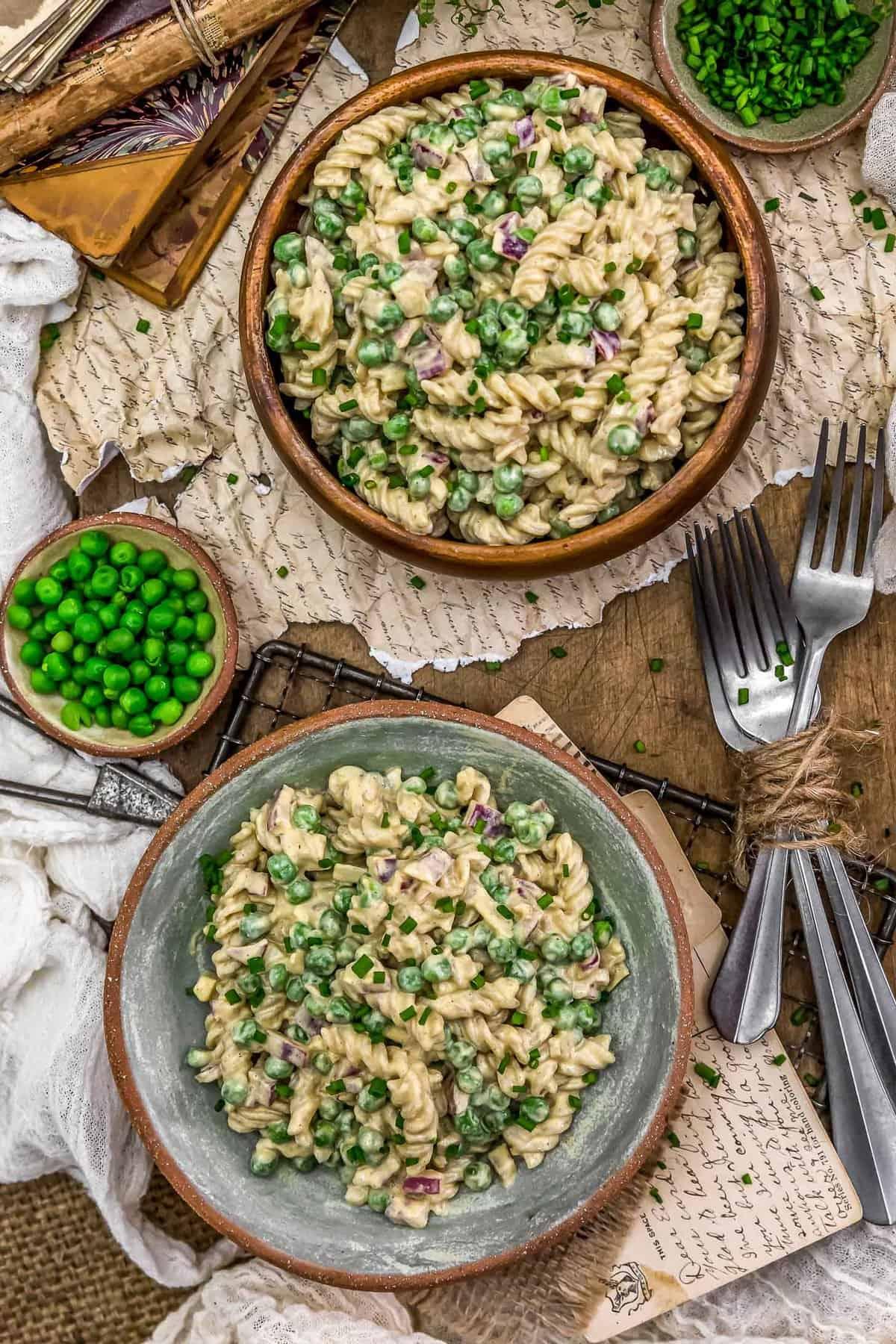 Tablescape of Vegan Crack Pasta Salad