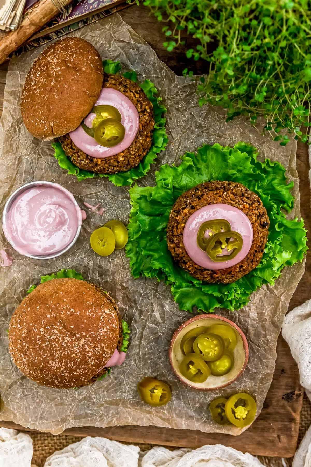 Tablescape of Vegan Jalapeño Popper Burger