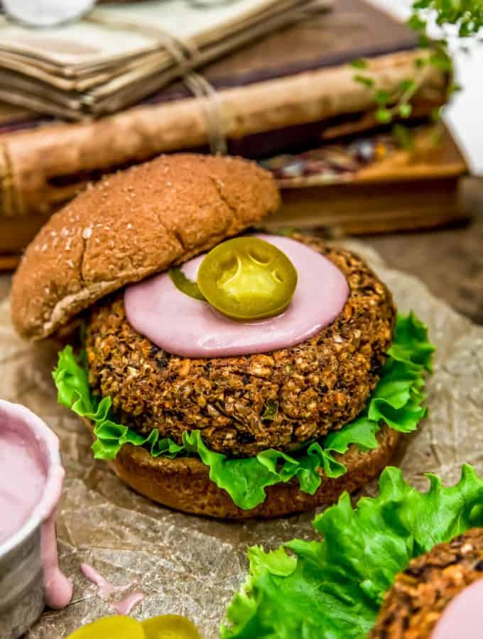 Vegan Jalapeño Popper Burger with Vegan Pickled Jalapeño Raspberry Burger Sauce